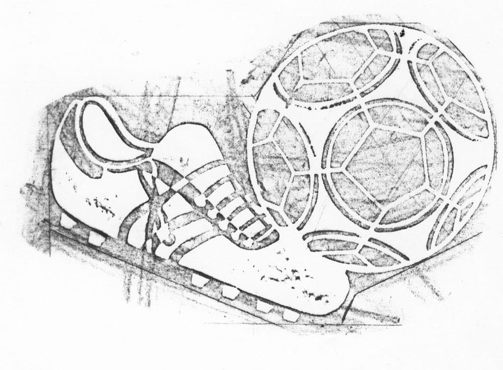 Voetbal + voetbalschoen 047