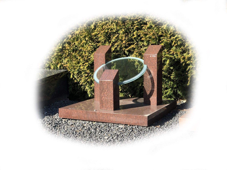 Grafsteen Catseye graniet met glasplaat 72