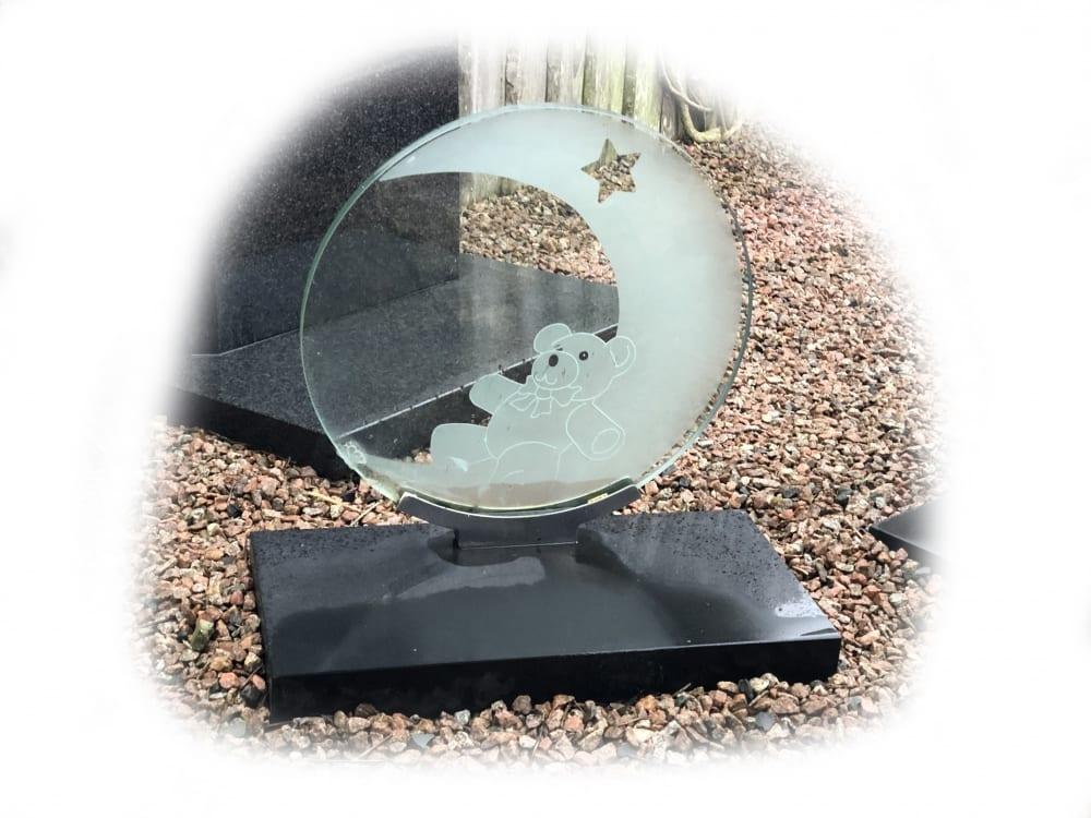 Grafsteen Glas & Zwart graniet 81