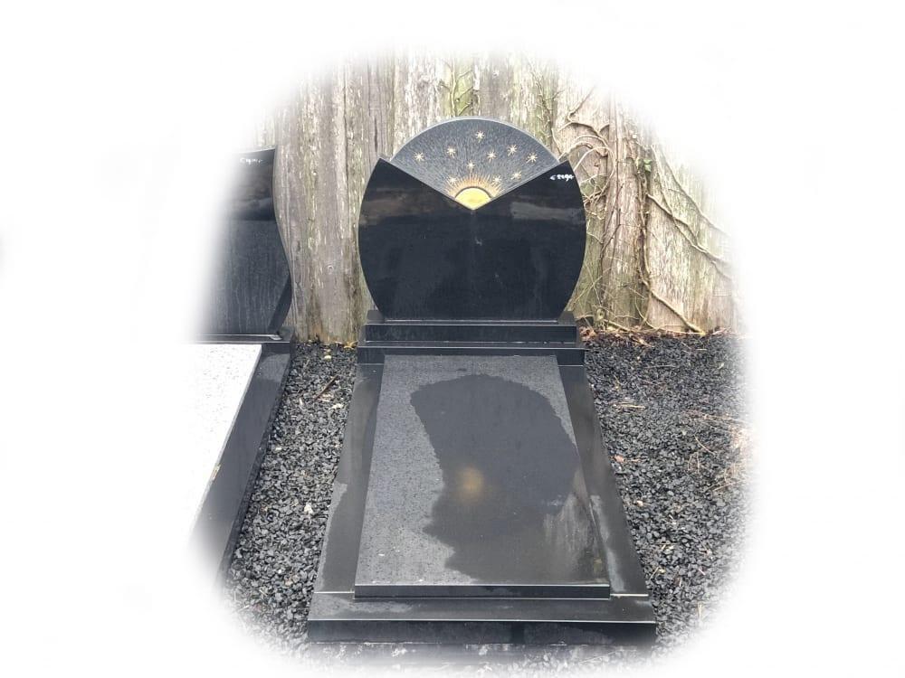Grafsteen zwart graniet 71