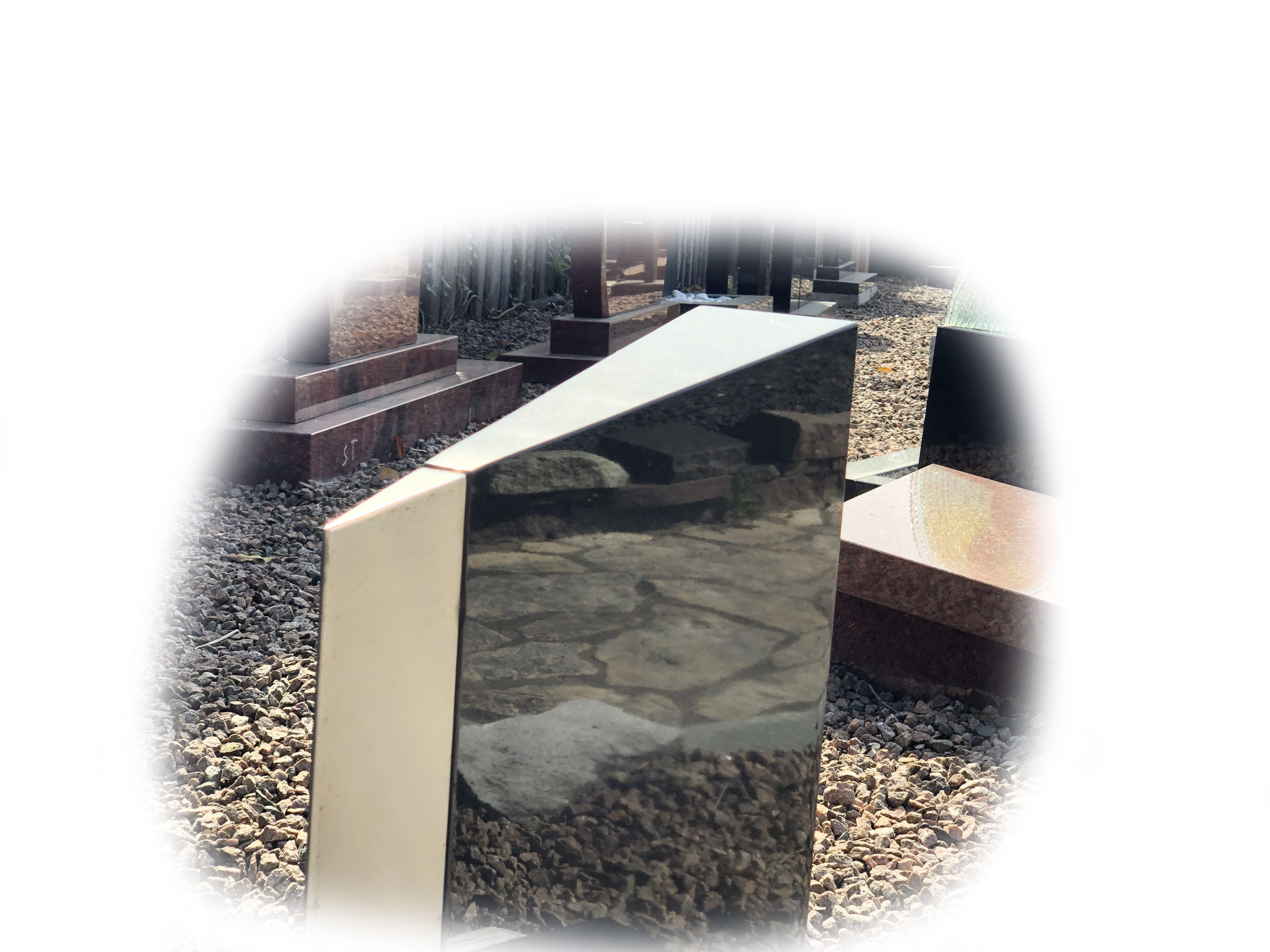Grafsteen Zwart graniet & RVS 10