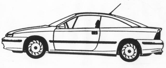 Tekening van een personenauto op een grafmonument