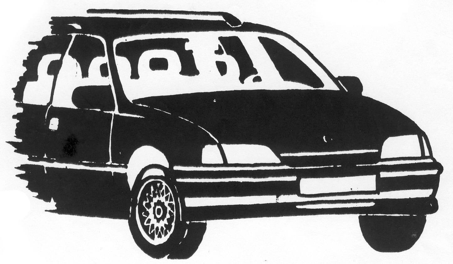 Tekening van de voorkant van een auto op een grafmonument