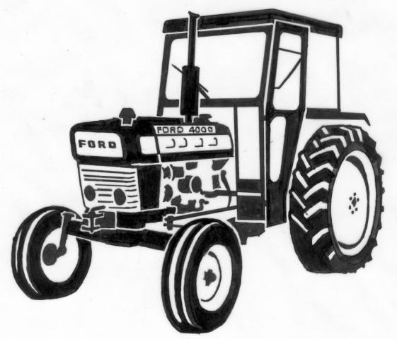 Tekening van een tractor op een grafmonument