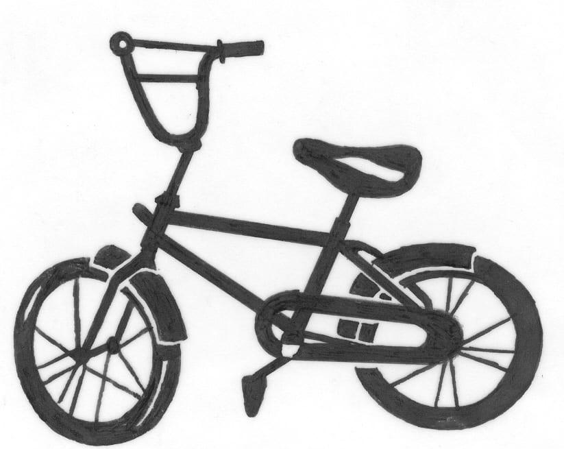 Tekening van een fiets op een grafmonument
