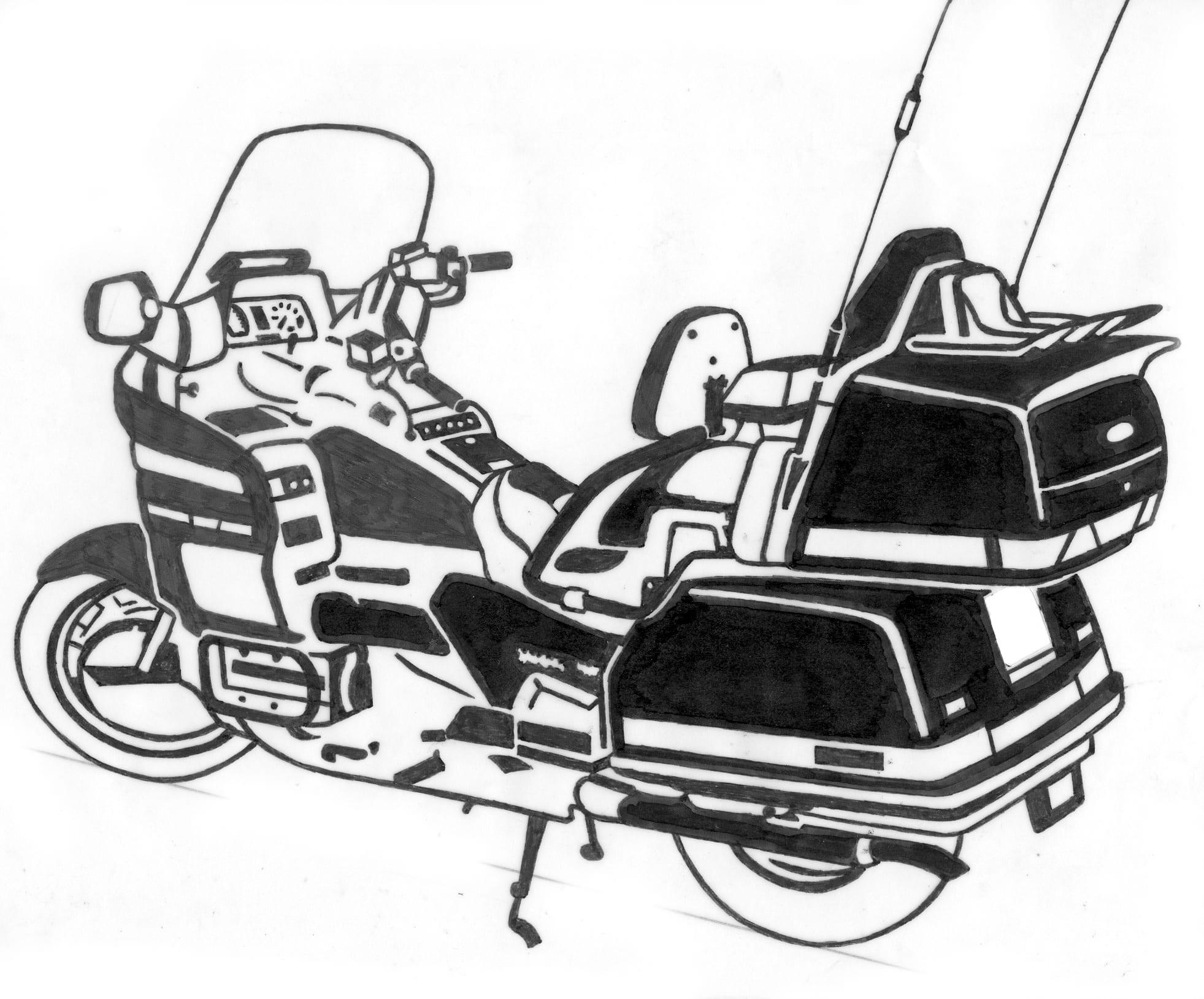 Tekening van een politiemotor op een grafmonument