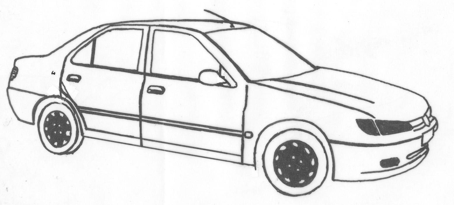 Tekening van een oude auto op een grafmonument
