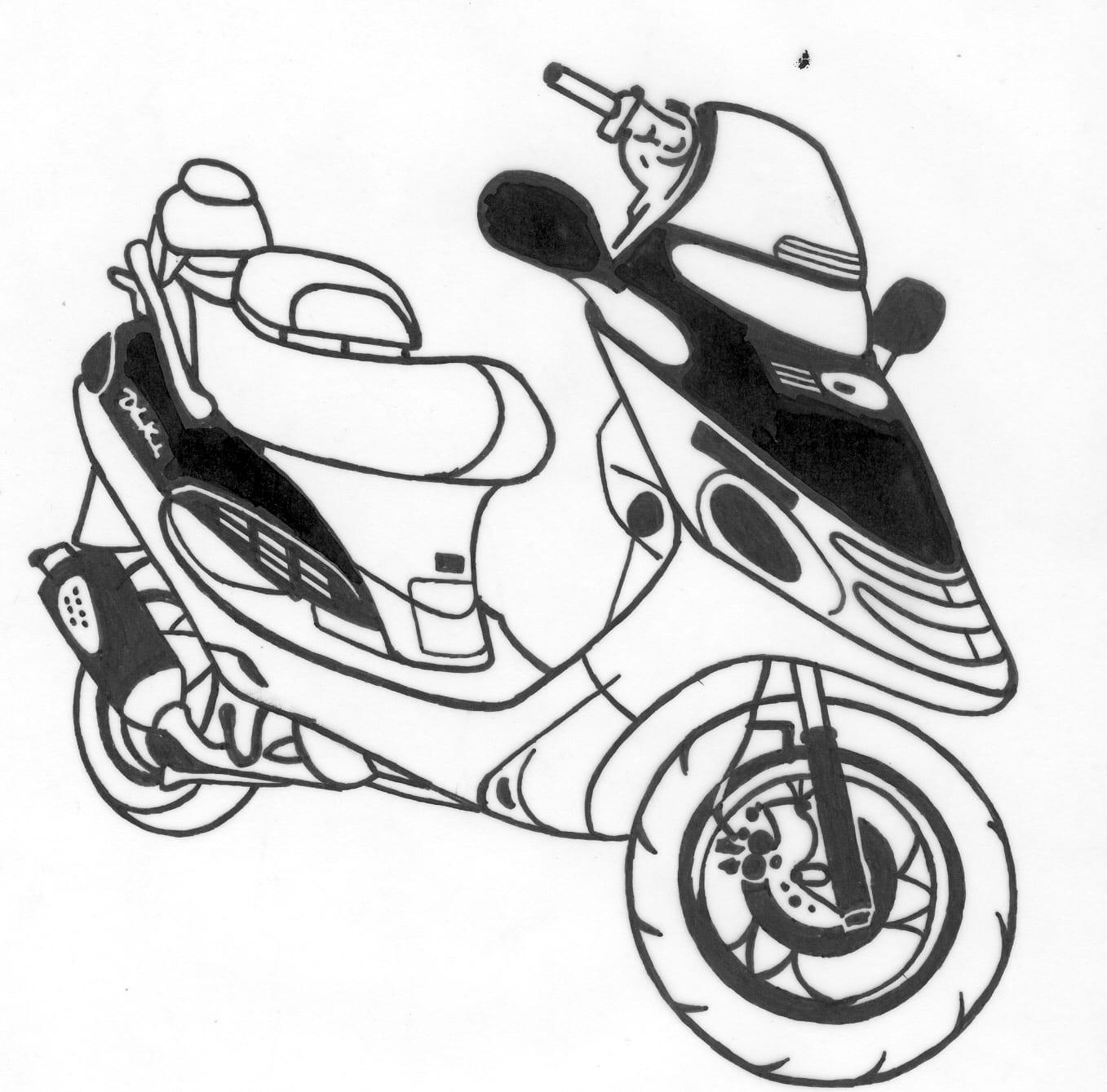 Gezandstraalde afbeelding van een scooter dat mogelijk is op een grafmonument