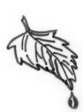 Een afbeelding van een blaadje die kan worden gezandstraald op een grafmonument