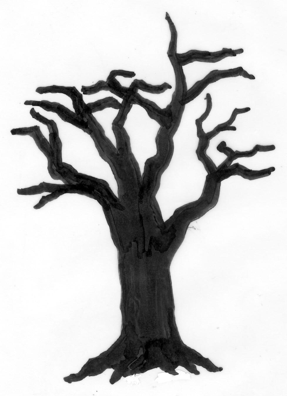 Een afbeelding van een donkere boom die kan worden gezandstraald op een grafmonument