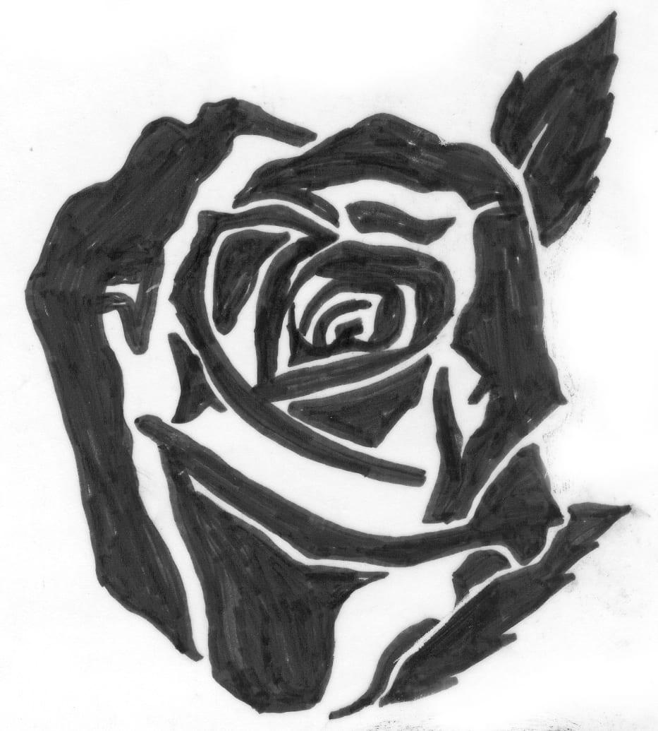 Een afbeelding van een donkere roos die kan worden gezandstraald op een grafmonument