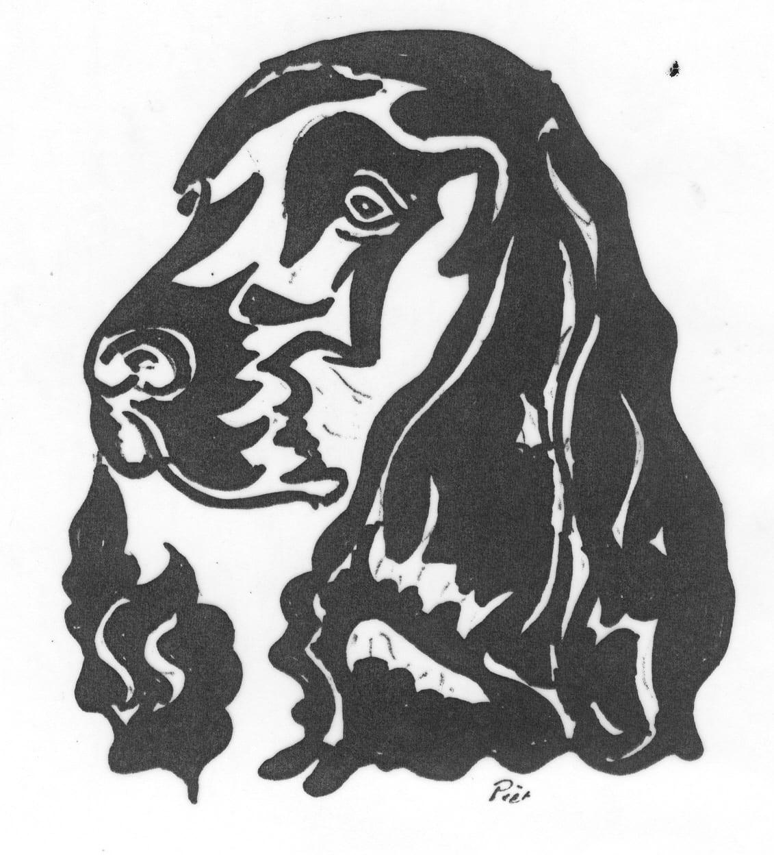 Een afbeelding van een hond die kan worden gezandstraald op een grafmonument