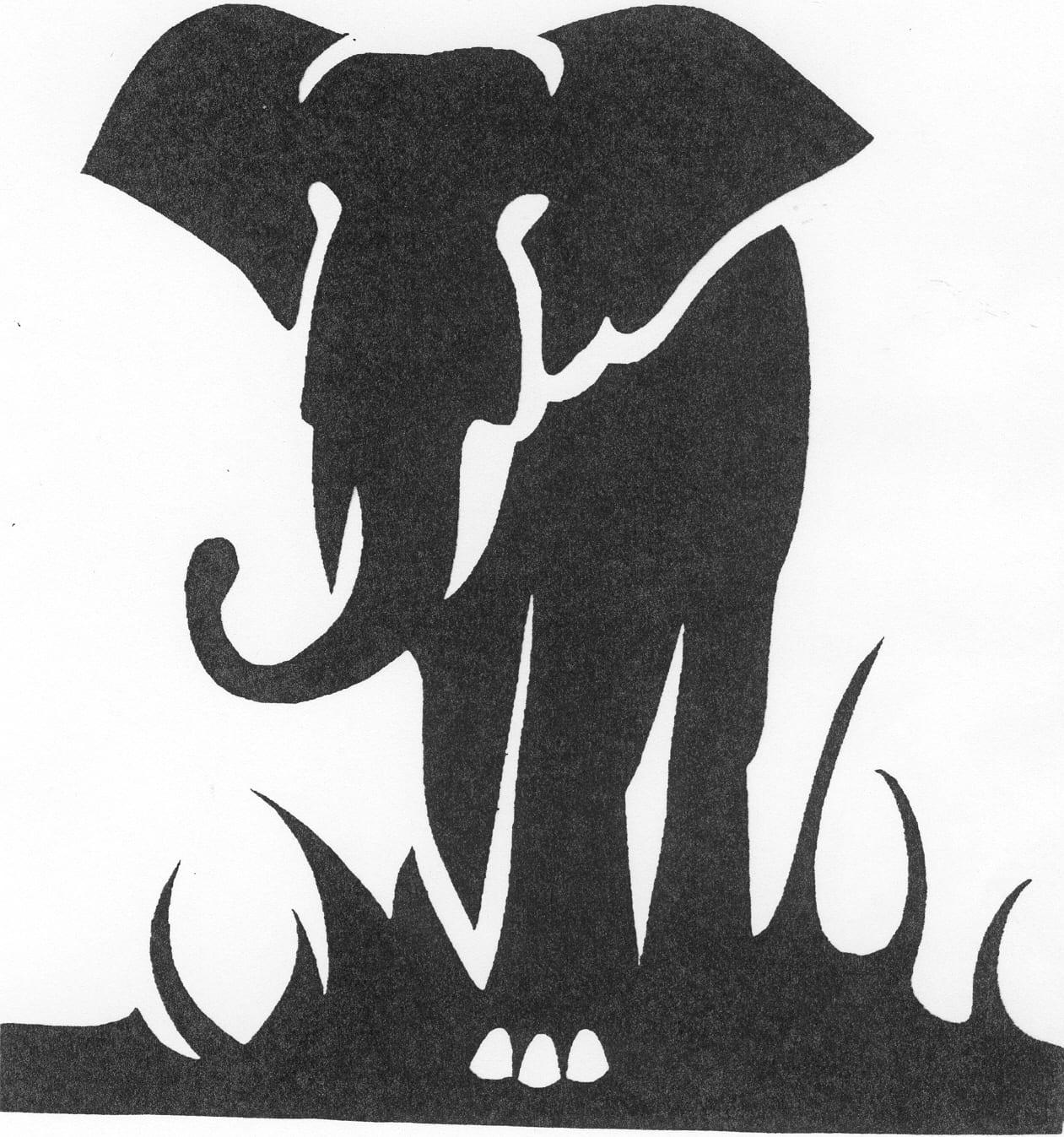 Een afbeelding van een olifant die kan worden gezandstraald op een grafmonument