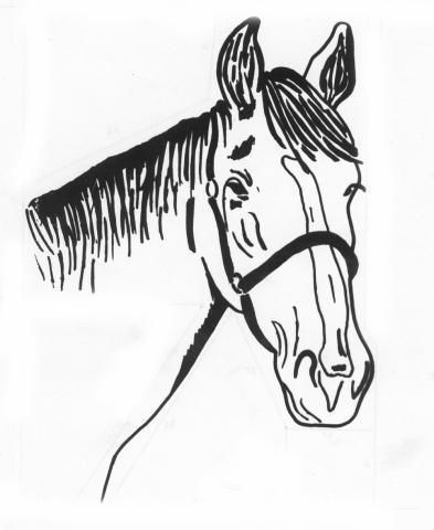 Een afbeelding van een paard die kan worden gezandstraald op een grafmonument