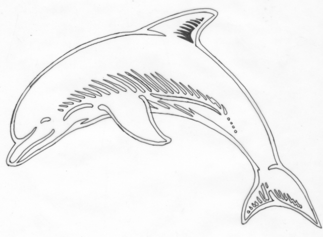 Een afbeelding van een dolfijn die kan worden gezandstraald op een grafmonument