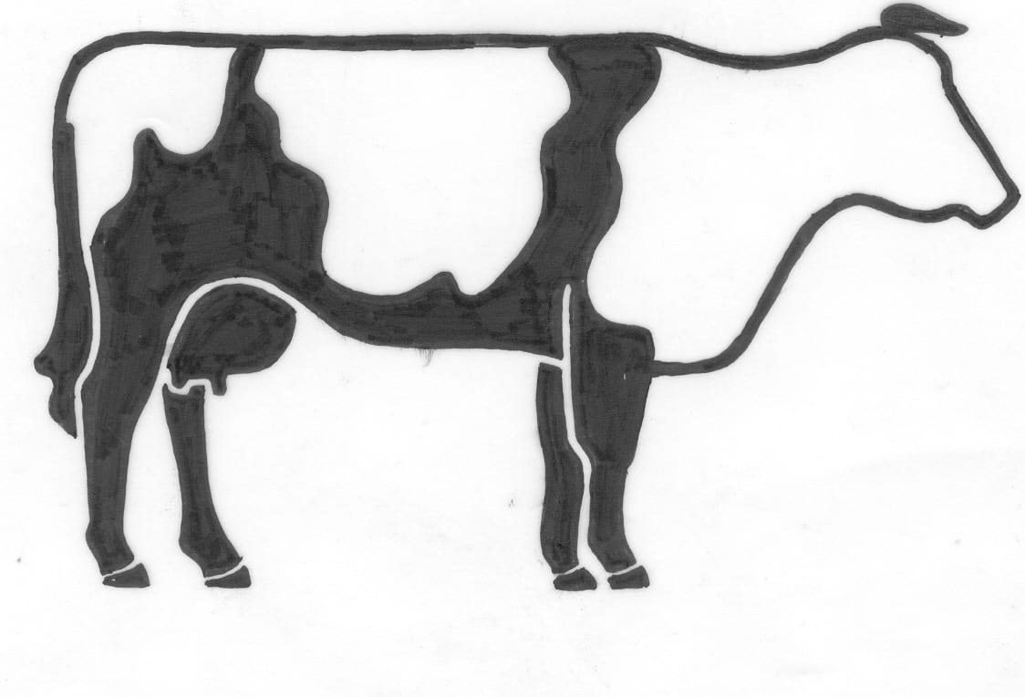 Een afbeelding van een koe die kan worden gezandstraald op een grafmonument
