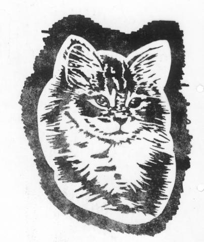 Een afbeelding van een kat die kan worden gezandstraald op een grafmonument