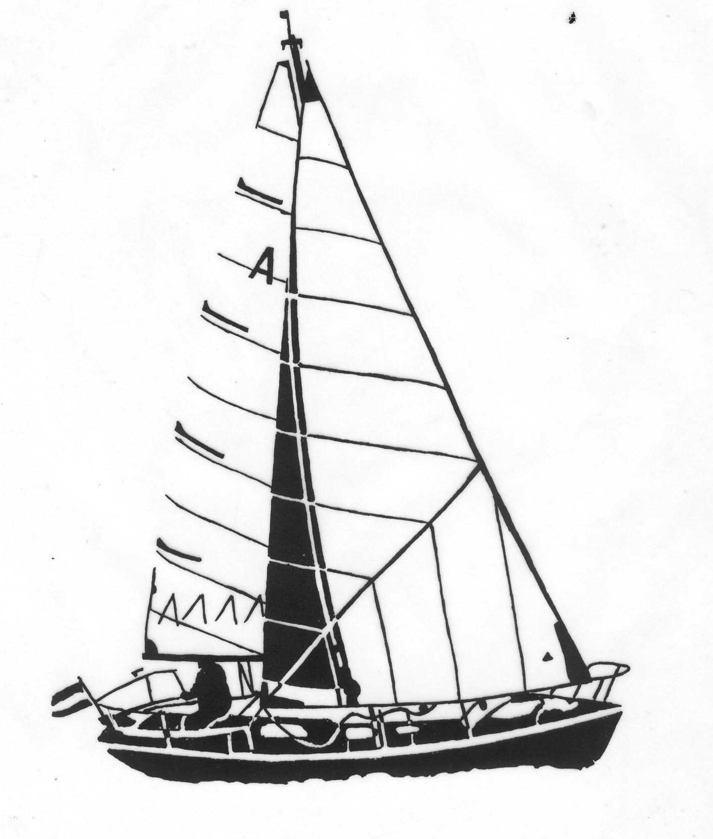 Een afbeelding van een zeilboot die kan worden gezandstraald op een grafmonument