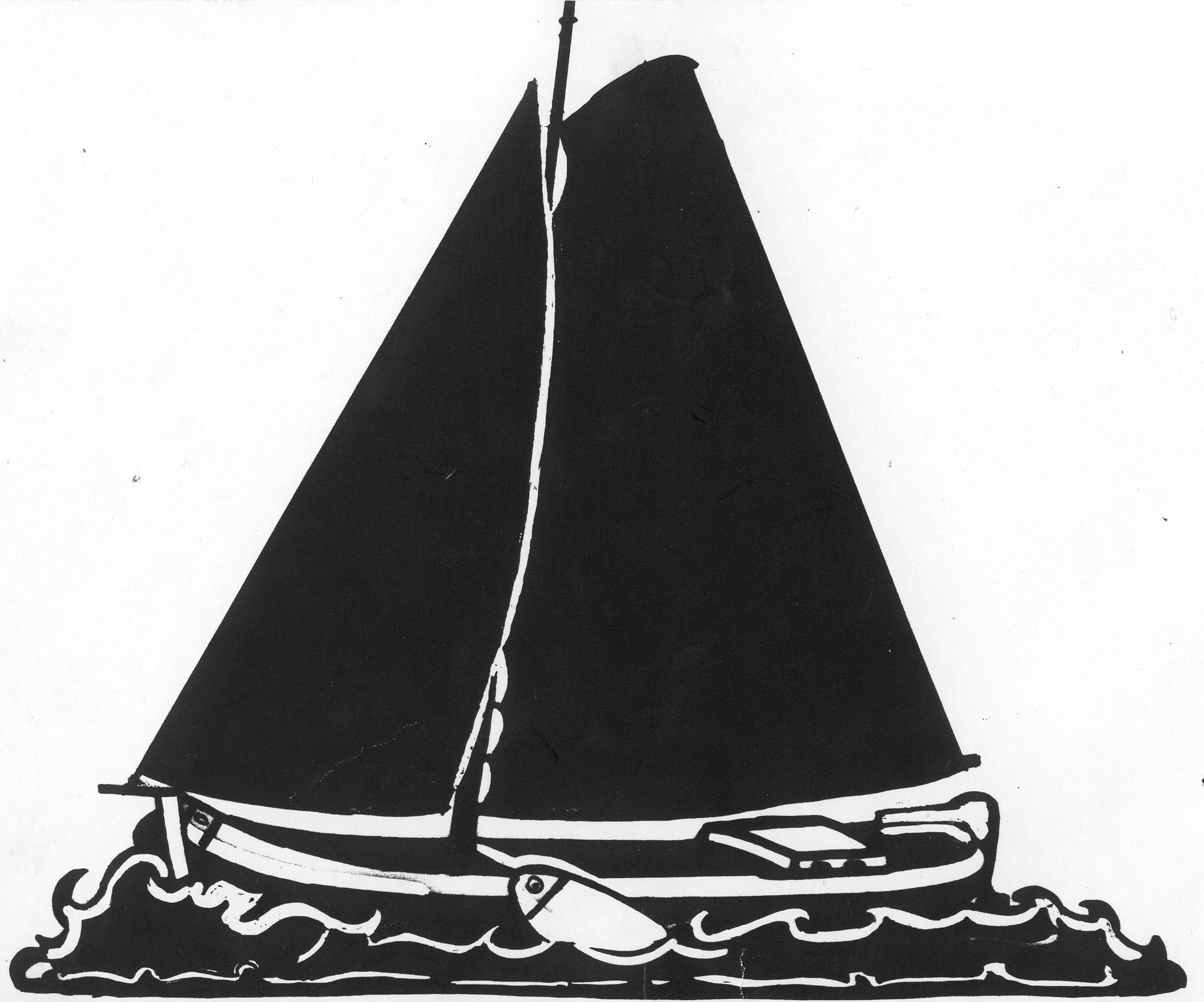 Een afbeelding van een donkere zeilboot die kan worden gezandstraald op een grafmonument