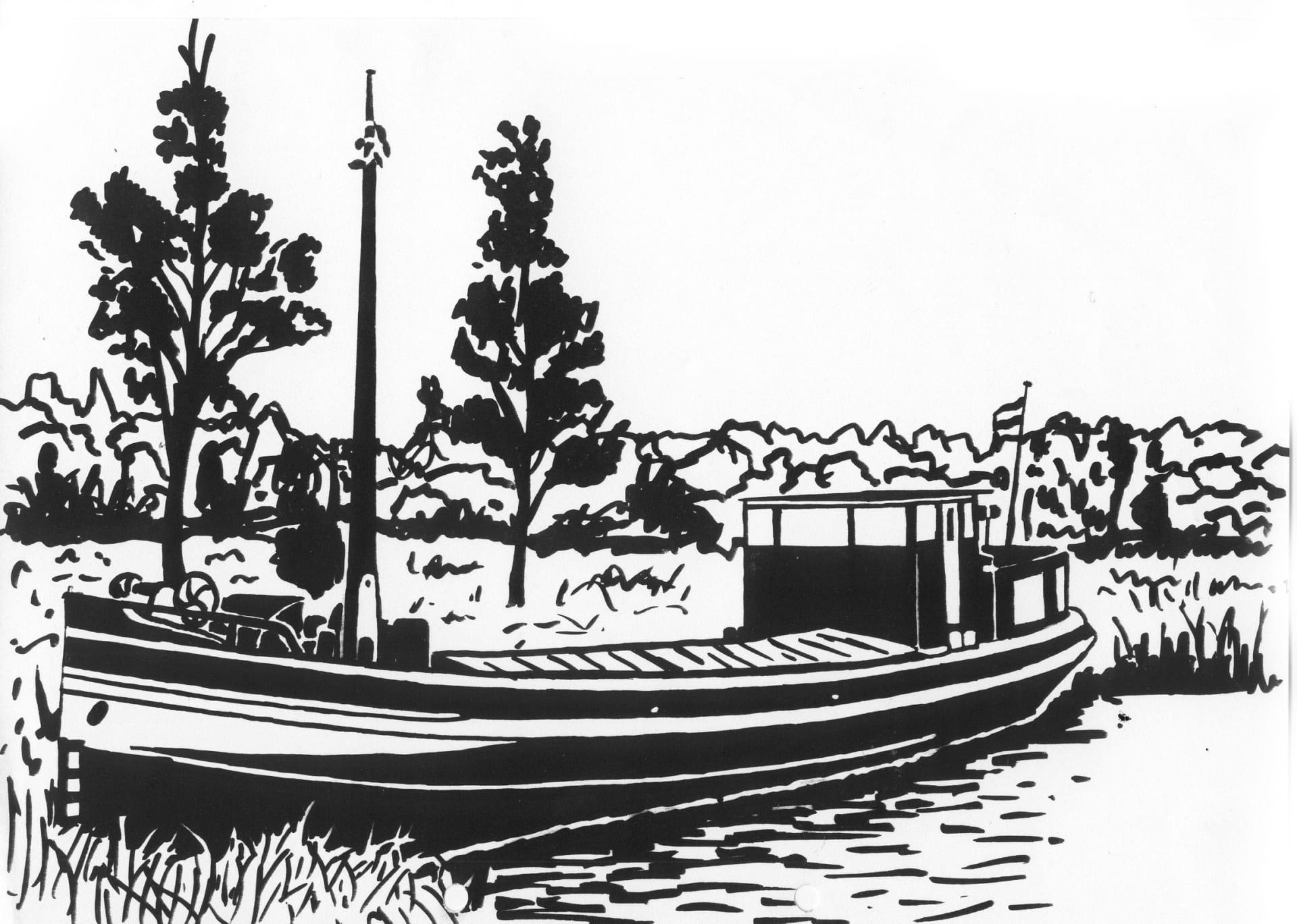 Een afbeelding van een grote motorboot die kan worden gezandstraald op een grafmonument