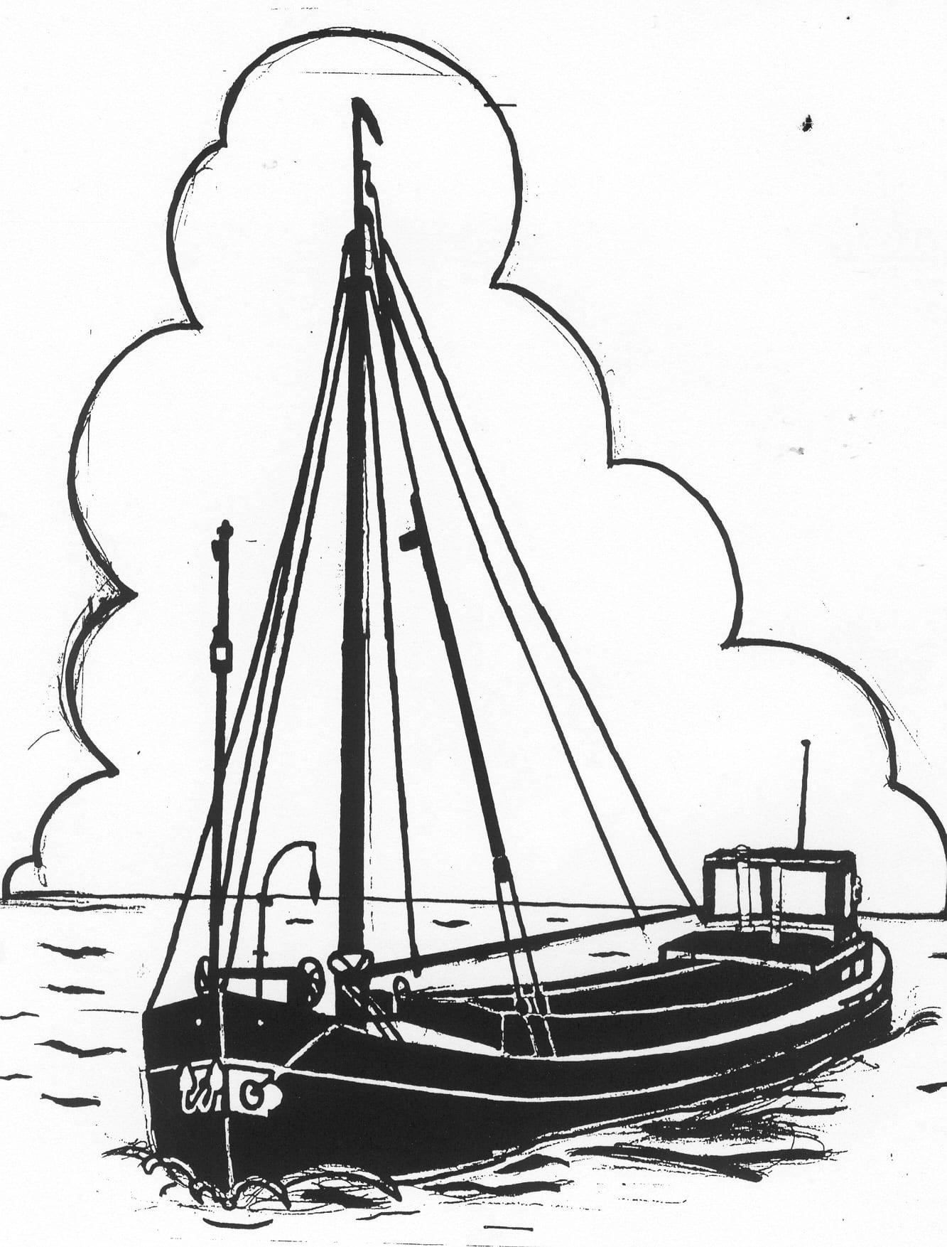 Een afbeelding van een grote donkere motorboot die kan worden gezandstraald op een grafmonument