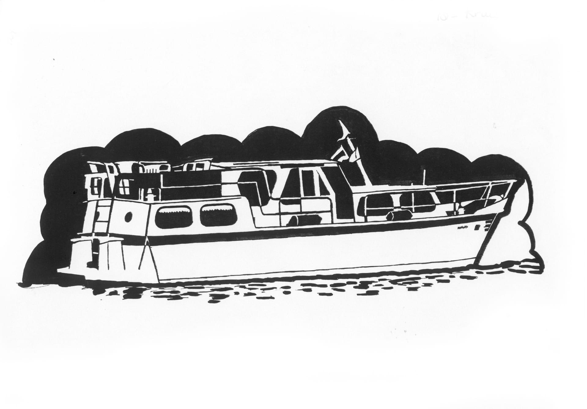 Een afbeelding van een pleziervaartuig die kan worden gezandstraald op een grafmonument