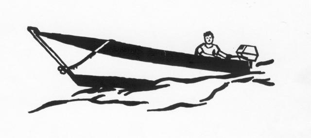 Een afbeelding van snelle speedboot met een persoon die kan worden gezandstraald op een grafmonument