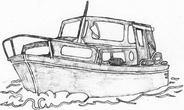 Een afbeelding van een groot pleziervaartuig die kan worden gezandstraald op een grafmonument
