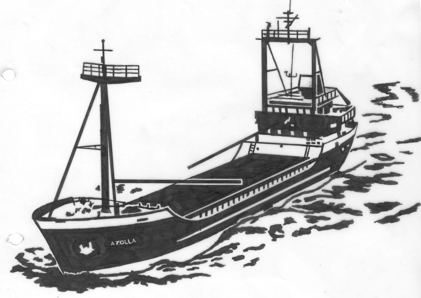 Een afbeelding van een groot vrachtschip die kan worden gezandstraald op een grafmonument