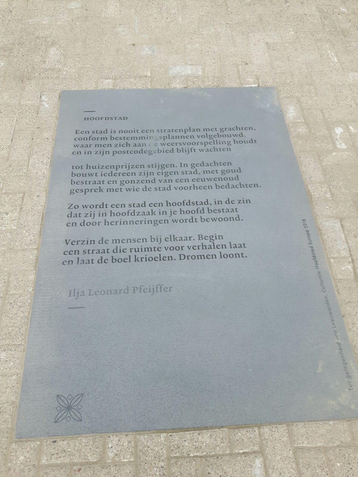 LEEUWARDEN – Zerk poëzieroute Leeuwarden